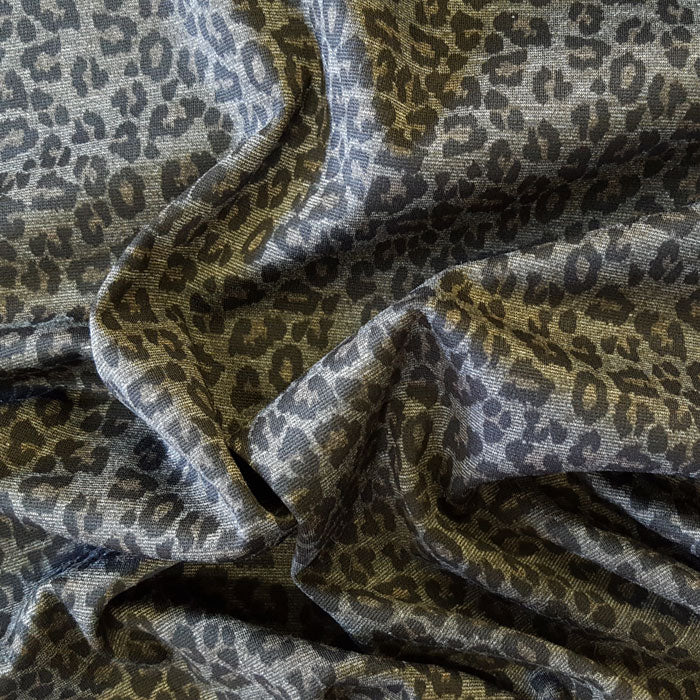 Jersey/Stretch Fabric Black Leopard Print on Grey Background