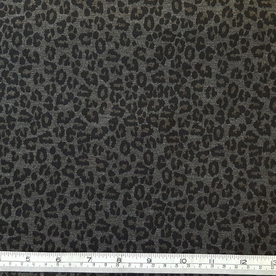 Jersey/Stretch Fabric Black Leopard Print on Grey Background - The Fabric Bee