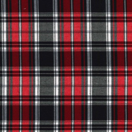 Tartan Black/Red with Stretch C7127 - The Fabric Bee