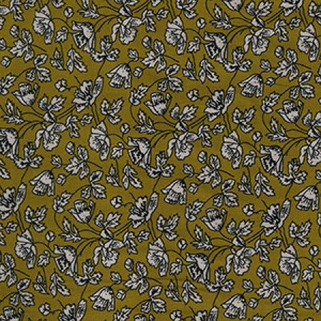 Viscose Twill Mustard Floral C7702 - The Fabric Bee