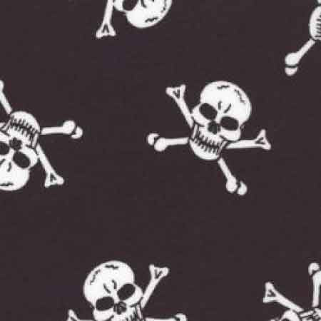 Cotton Poplin Skulls CP0089 White on Black - The Fabric Bee