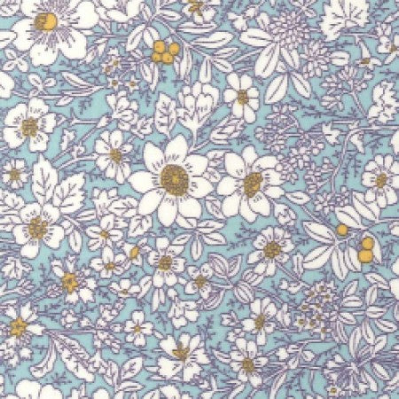 Cotton Poplin Floral Sky Blue CP0221 - The Fabric Bee