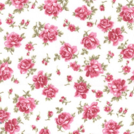 Cotton Poplin CP0267 Pink Floral - The Fabric Bee
