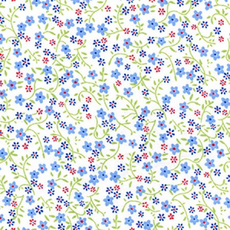 Cotton Poplin Ditsy Floral Blue - The Fabric Bee
