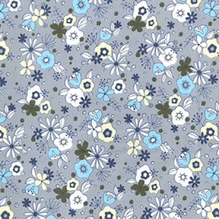 Cotton Poplin Floral Silver CP0483 - The Fabric Bee