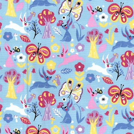 Cotton Poplin Floral Sky CP0708 - The Fabric Bee