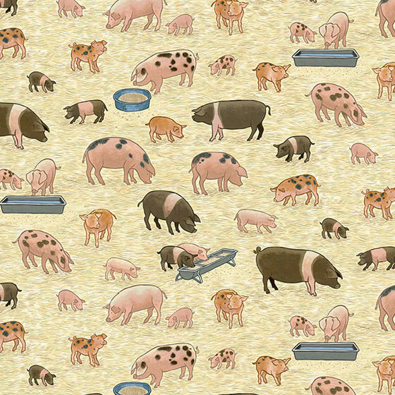 Makower UK Village Life 2292/1 Pigs F6828