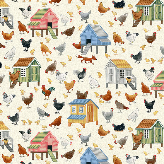 Makower UK Village Life 2294/1 Chickens F6830