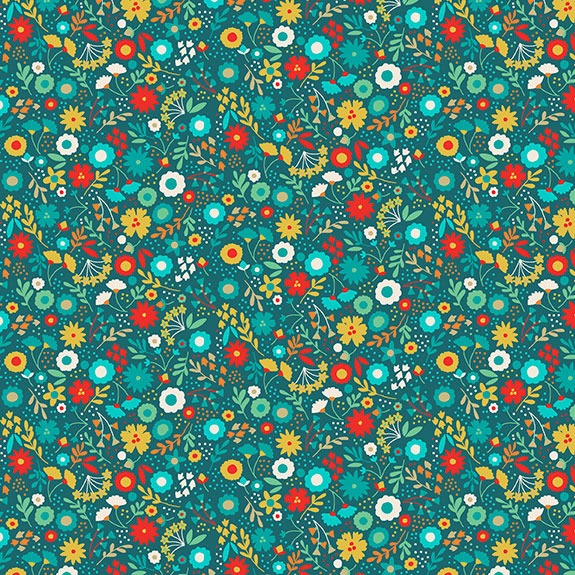 Makower UK Folk Friends 2302/T Turquoise Floral F6834