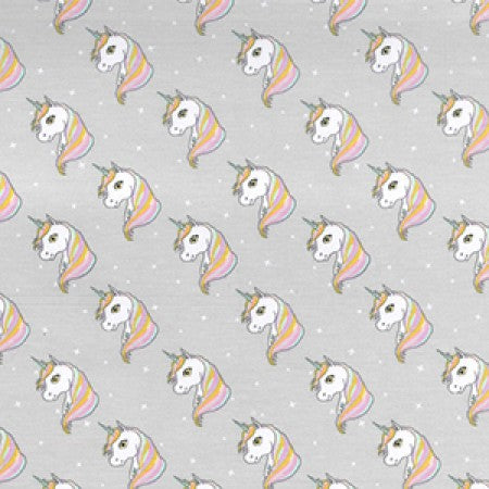 Jersey Fabric JLJ0013 Grey Unicorns - The Fabric Bee