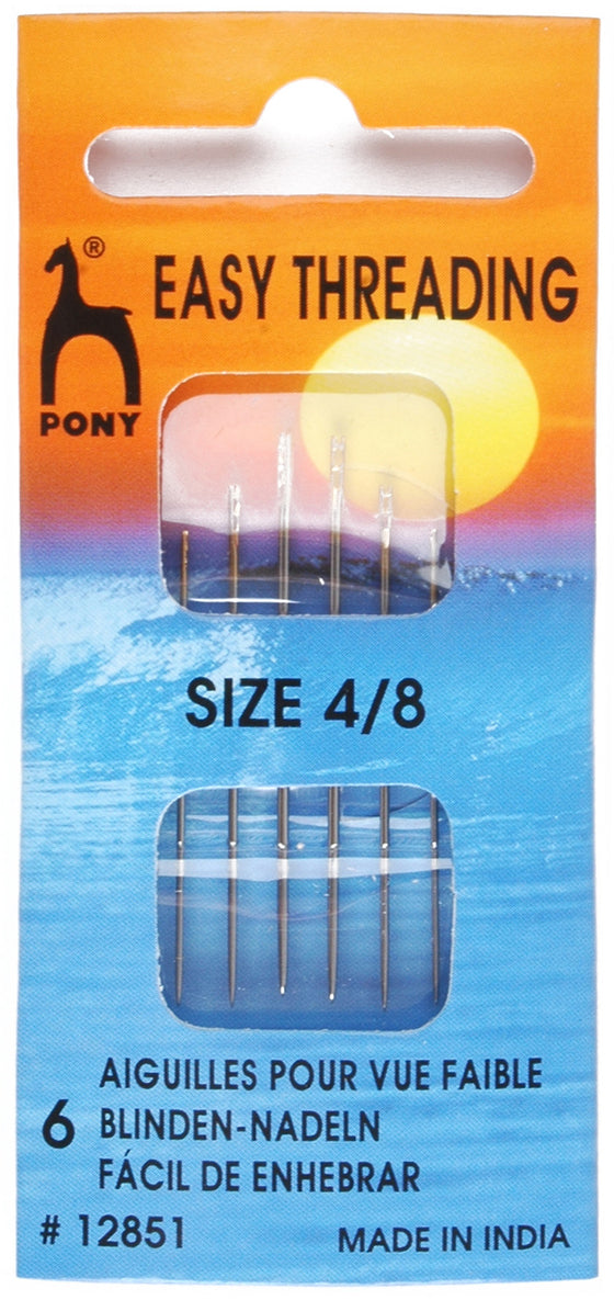 Pony Hand Sewing Needles Easy Threading Assorted 4-8 P12851