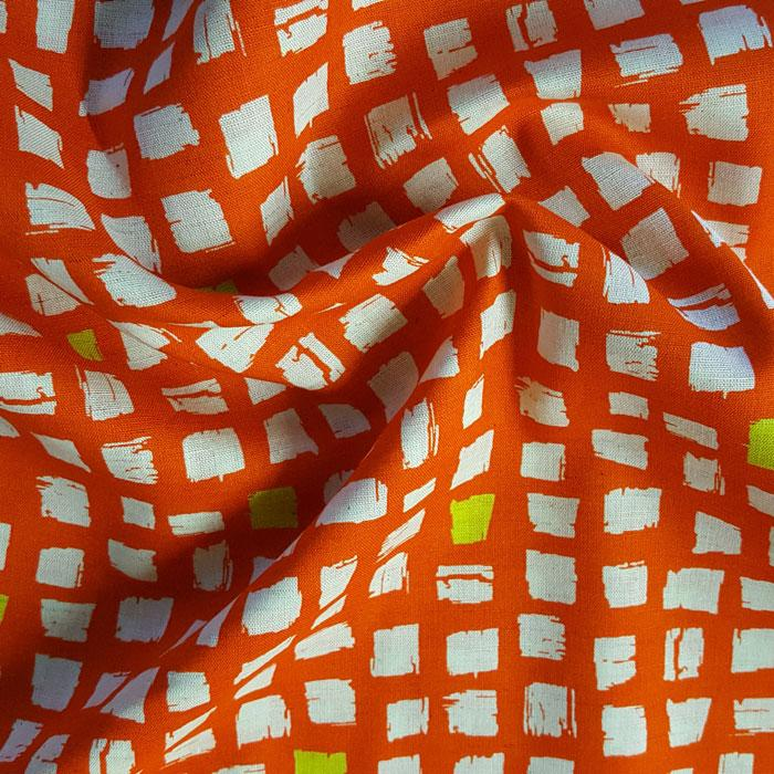 Medium Weight Cotton Fabric - Squares Orange