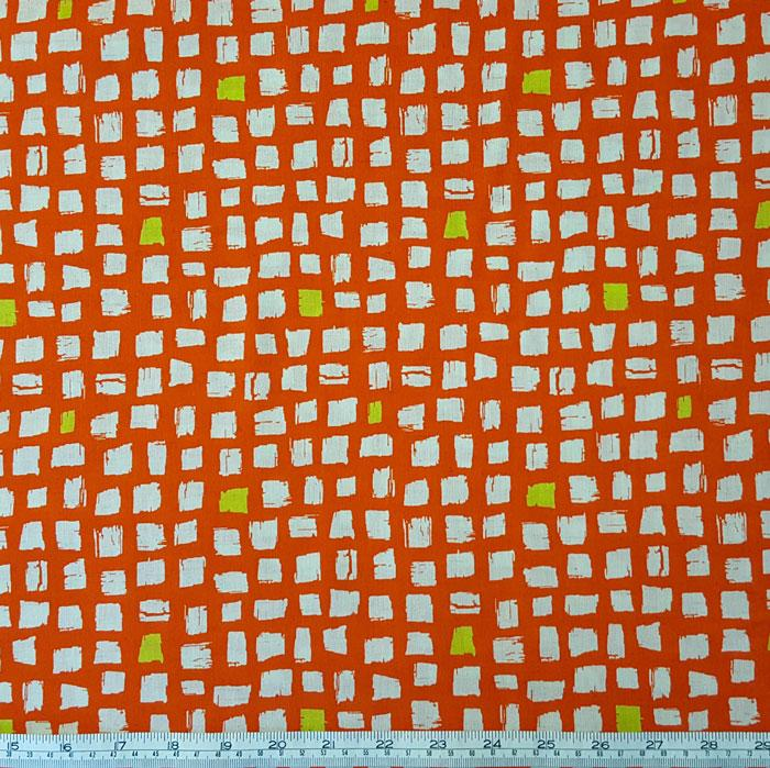 Medium Weight Cotton Fabric - Squares Orange - The Fabric Bee