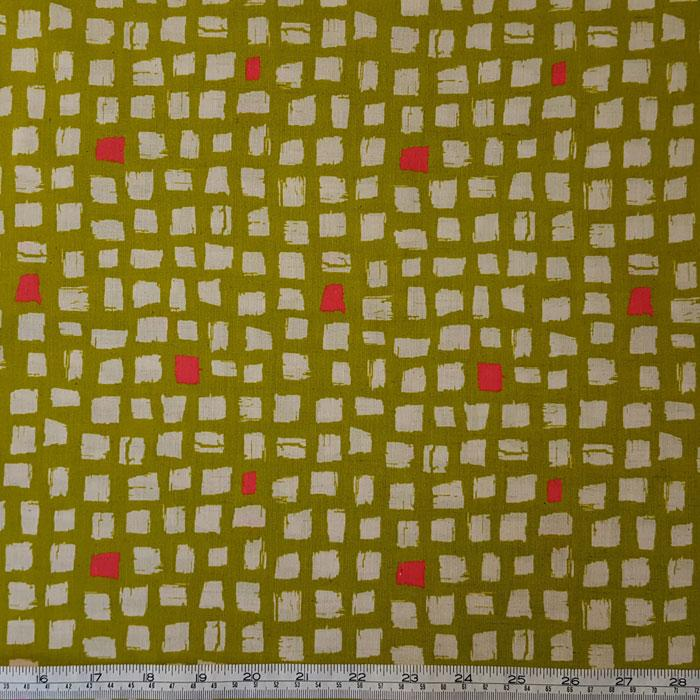 Medium Weight Cotton Fabric - Squares Olive - The Fabric Bee
