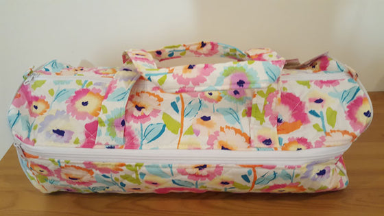 Knitting Bag Pink Aqua Floral - The Fabric Bee