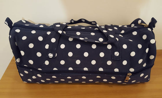 Knitting Bag White Spots on Navy - The Fabric Bee
