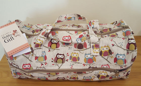 Knitting Bag Owls on Beige Background - The Fabric Bee