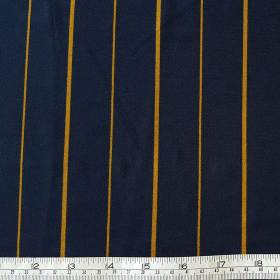 Polyester with stretch Mustard Stripe on Navy Background - The Fabric Bee