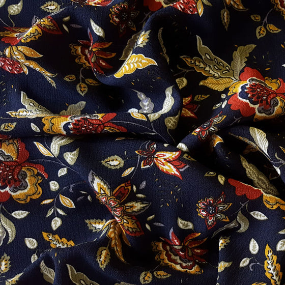 Crinkle Viscose Floral on Navy Background