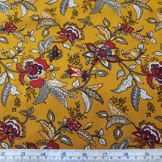 Crinkle Viscose Floral on Mustard Background