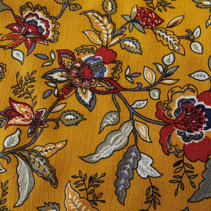 Crinkle Viscose Floral on Mustard Background - The Fabric Bee