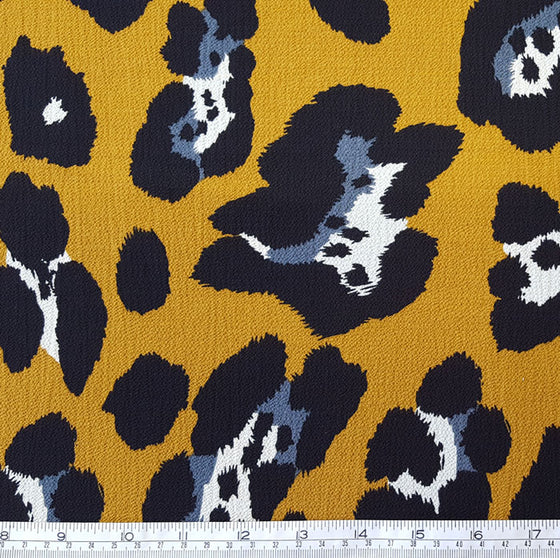 Polyester Animal Print on Mustard Background