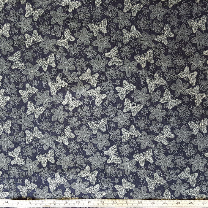 Butterfly Print Denim Fabric with Stretch - The Fabric Bee