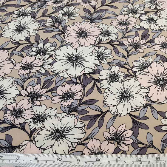 Polyester Floral C7536 Beige - The Fabric Bee