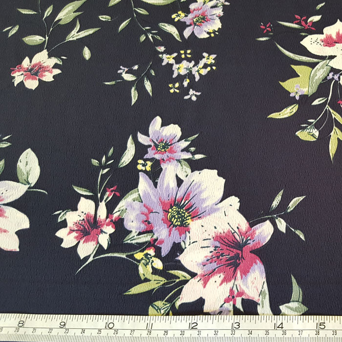 Polyester Morocaine Navy Floral - The Fabric Bee