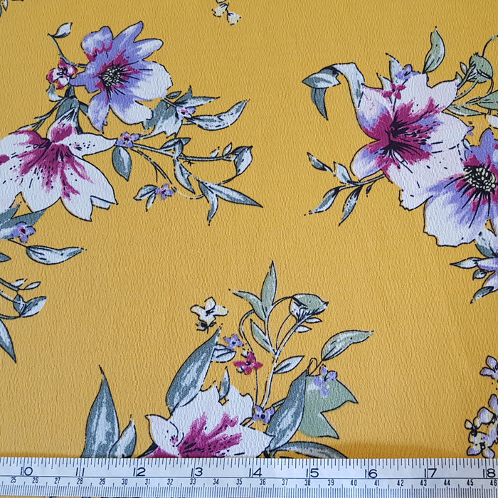 Polyester Morocaine Ochre Floral - The Fabric Bee