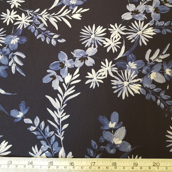 Polyester Morocaine Ivory/Blue Floral on Navy - The Fabric Bee