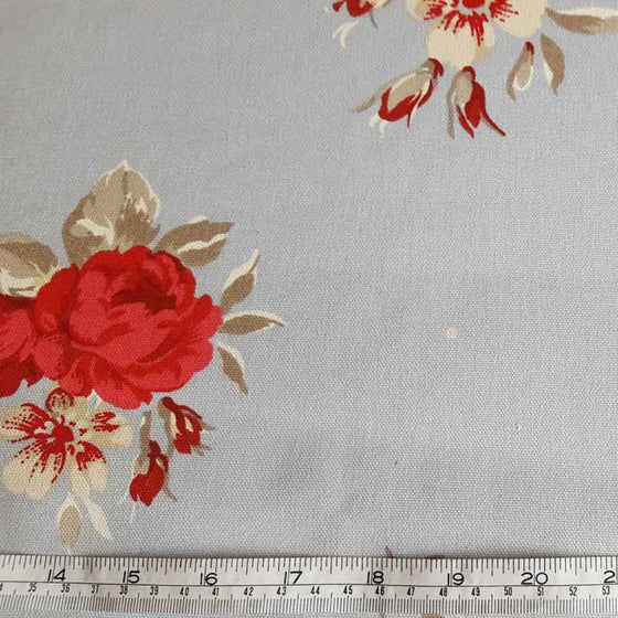 Cotton Canvas Red Roses on Pale Blue - The Fabric Bee