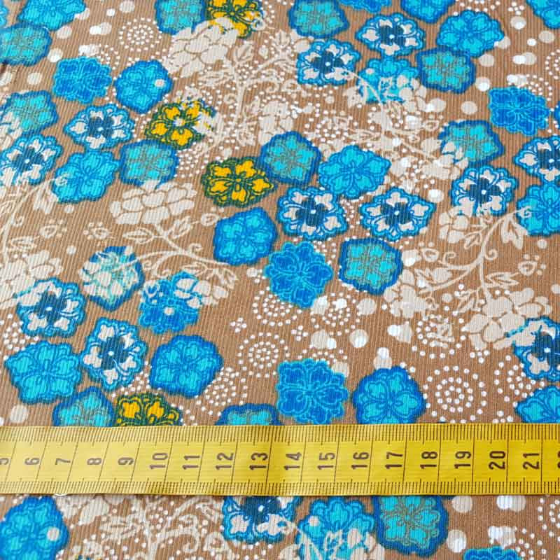 Needlecord Turquoise Flower 6814/V35 - The Fabric Bee