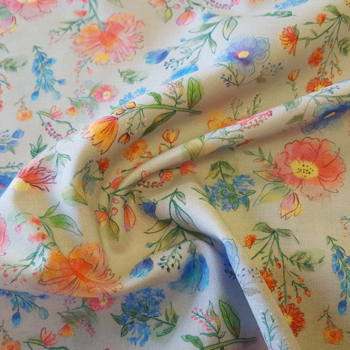Cotton Lawn Grey Floral - The Fabric Bee