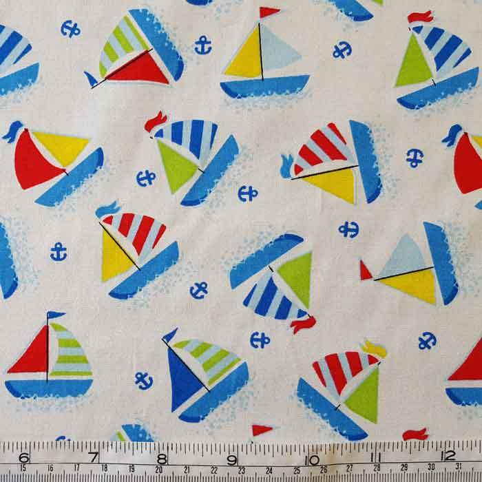 Cotton Poplin Yachts on White