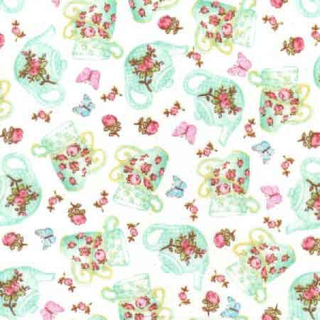 Cotton Poplin CP0362 Ivory Floral - The Fabric Bee
