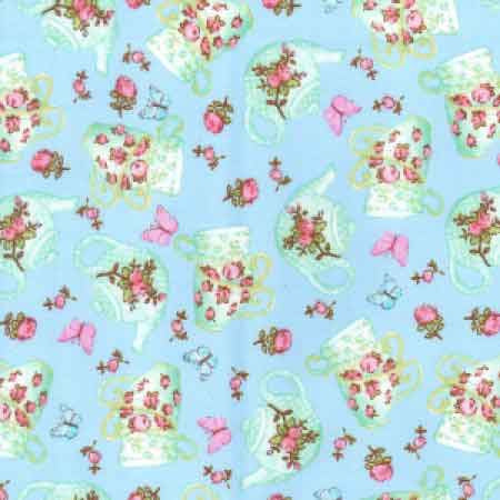 Cotton Poplin CP0362 Sky Floral - The Fabric Bee