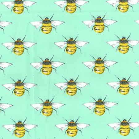 Cotton Poplin CP0395 Bees Mint - The Fabric Bee