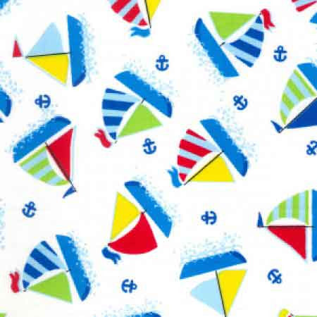 Cotton Poplin CP0425 Yachts White - The Fabric Bee