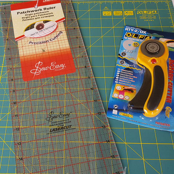 Deluxe Olfa Rotary Cutter, Mat and Ruler Set - The Fabric Bee
