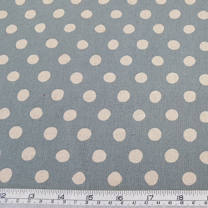 Sevenberry Cotton/Flax Blend - Spots 88185D2-5 Duck Egg Blue - The Fabric Bee