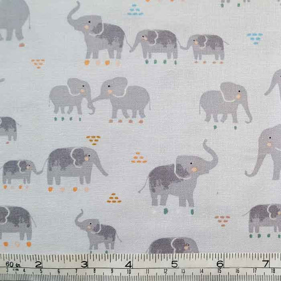 Dear Stella Fabric 1663 Elephants on Pale Grey F6879