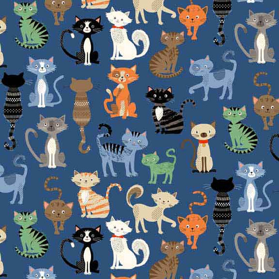 Makower Crafty Cats, Blue Cat Material