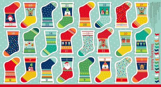 Makower Novelty Mini Stocking Christmas Advent Calendar F5923 - The Fabric Bee