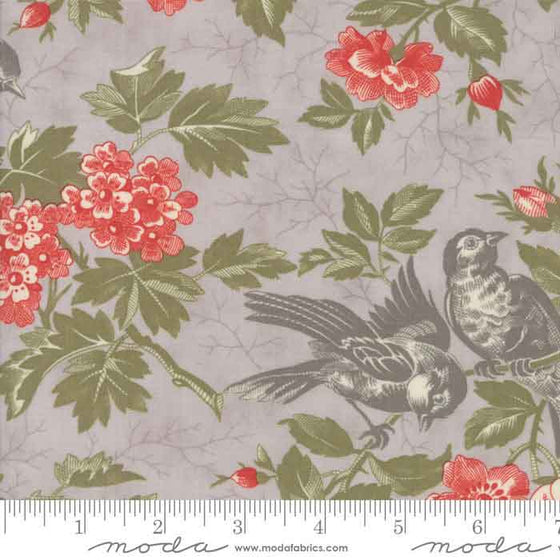Designed by 3 Sisters for Moda, Quill is a sophisticated patchwork and quilting cotton fabric collection using soft muted colours of grey, mauve and pink on vintage floral prints - Quill reflects the sisters' unique style.