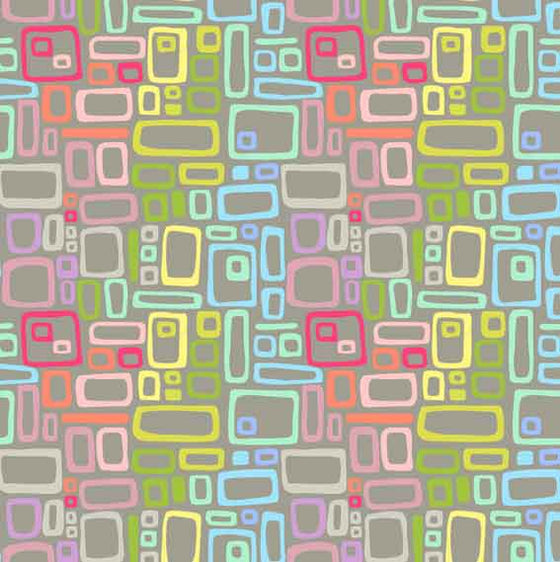 Uptown Rainbow Rectangles Grey 8664C F6290 - The Fabric Bee