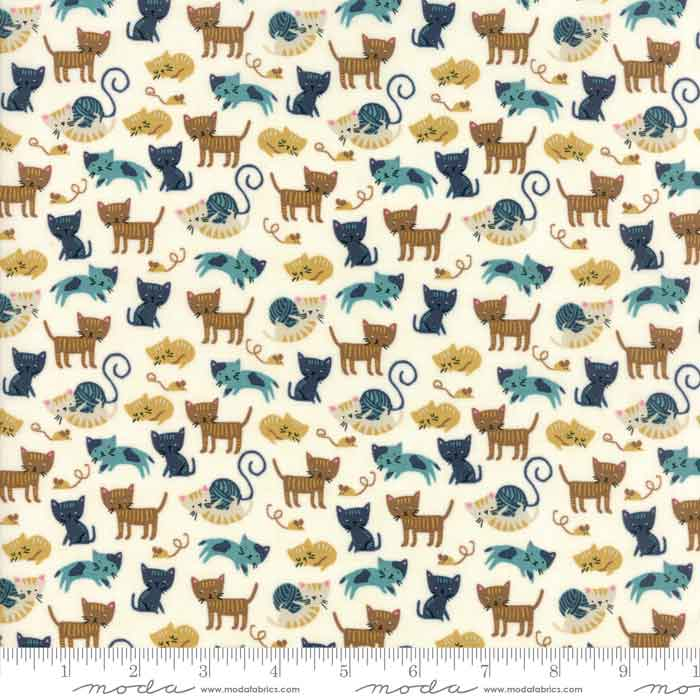 moda woof woof meow fabric collection, cat print fabric