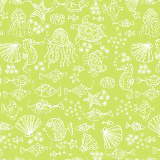 Makower UK Merryn - Green Sea Creatures - 2006/G F6413 - The Fabric Bee