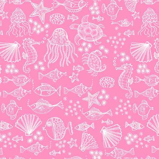 Makower UK Merryn - Pink Sea Creatures - 2006/P F6418 - The Fabric Bee