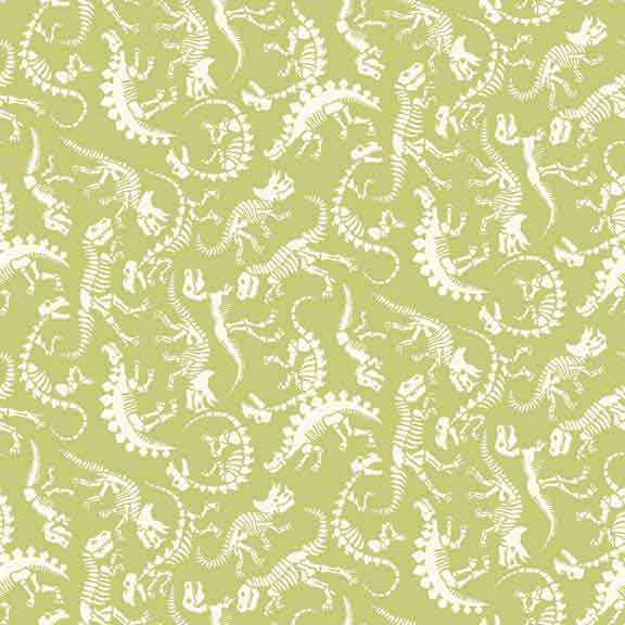 Makower UK Rex -  Green Dinosaur Fabric - 1897/G F6423 - The Fabric Bee